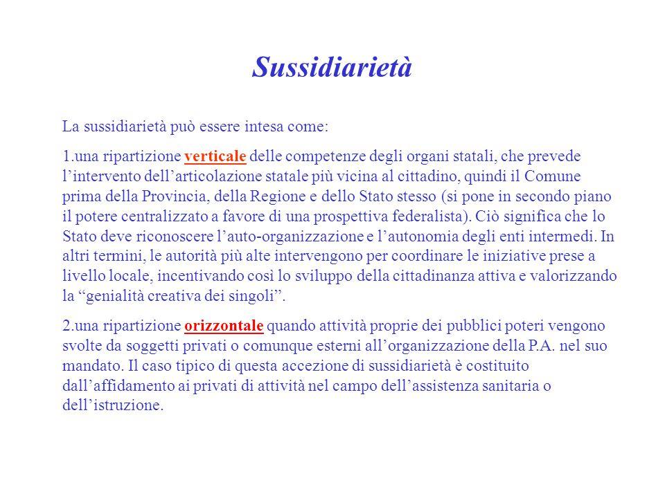 Sussidiarietà La sussidiarietà può essere intesa come: 1.una ripartizione verticale delle competenze degli organi statali, che prevede l'intervento de