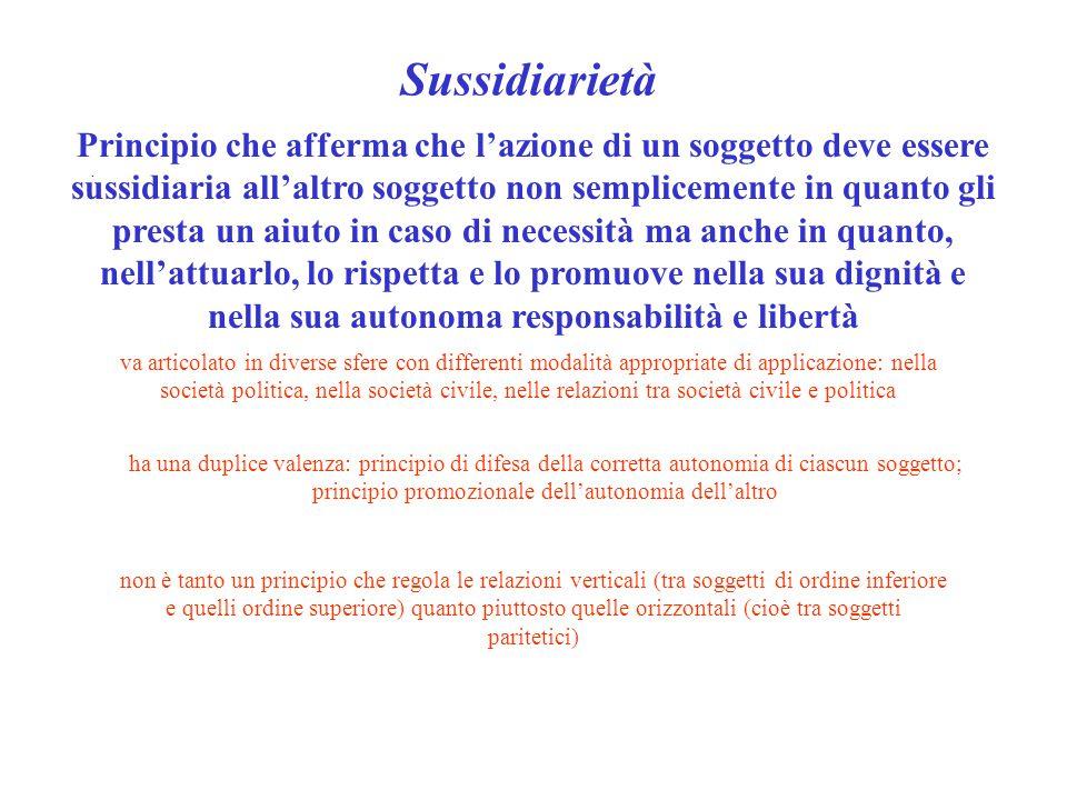 Sussidiarietà. Principio che afferma che l'azione di un soggetto deve essere sussidiaria all'altro soggetto non semplicemente in quanto gli presta un