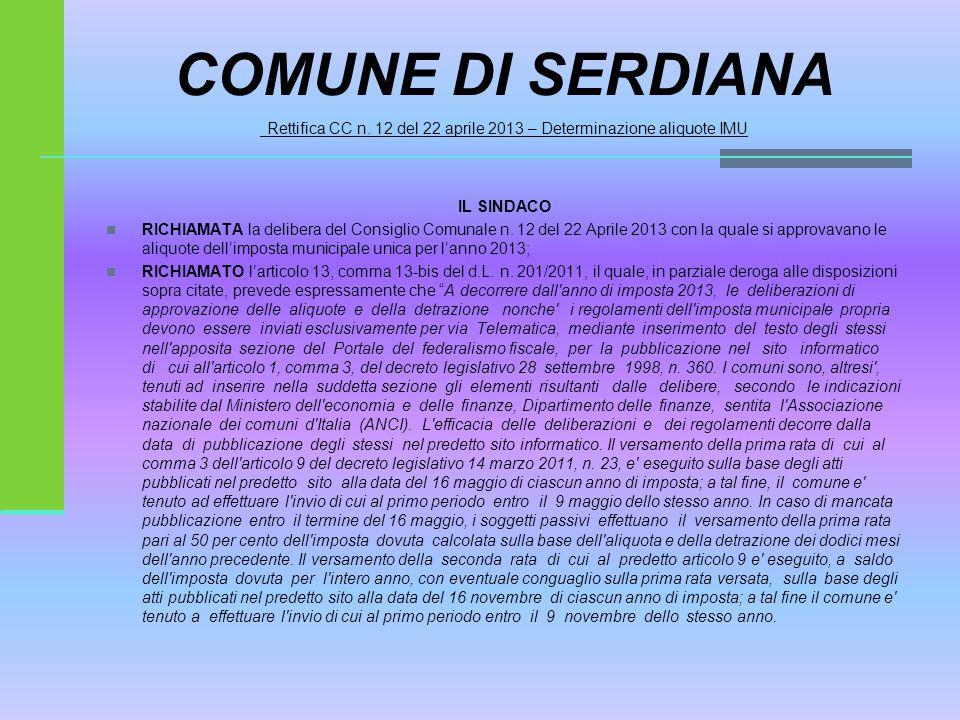COMUNE DI SERDIANA Rettifica CC n.