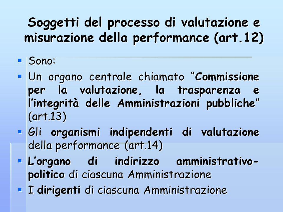 """Soggetti del processo di valutazione e misurazione della performance (art.12)  Sono:  Un organo centrale chiamato """"Commissione per la valutazione, l"""