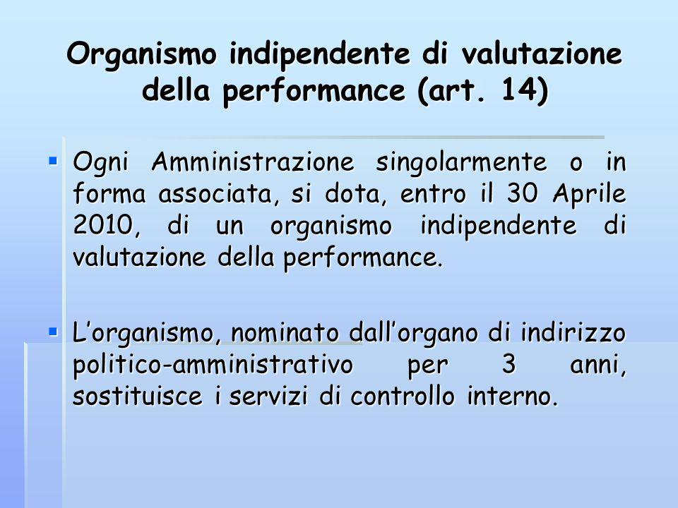 Organismo indipendente di valutazione della performance (art. 14)  Ogni Amministrazione singolarmente o in forma associata, si dota, entro il 30 Apri