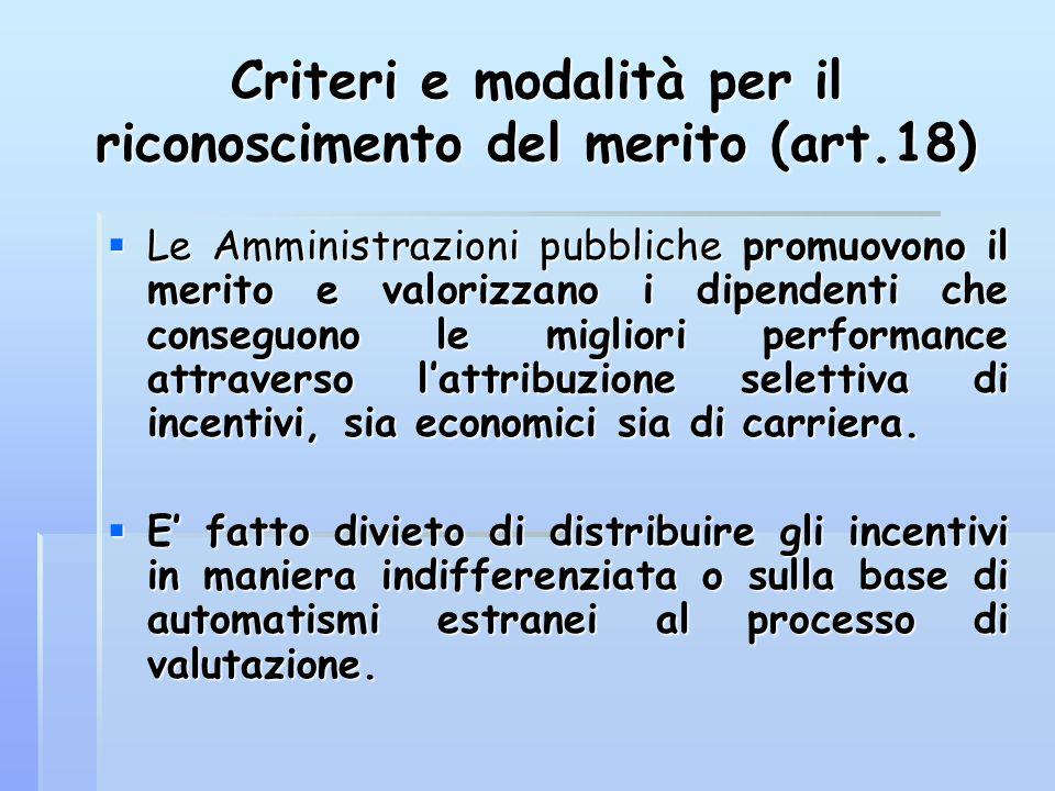 Criteri e modalità per il riconoscimento del merito (art.18)  Le Amministrazioni pubbliche promuovono il merito e valorizzano i dipendenti che conseg