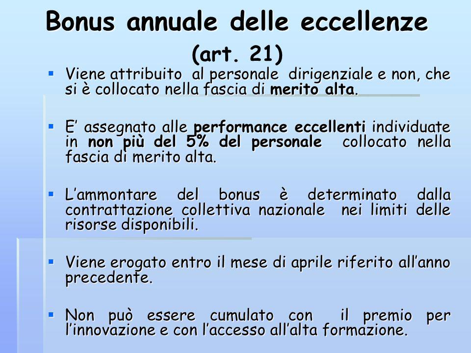 Bonus annuale delle eccellenze Bonus annuale delle eccellenze (art. 21)  Viene attribuito al personale dirigenziale e non, che si è collocato nella f