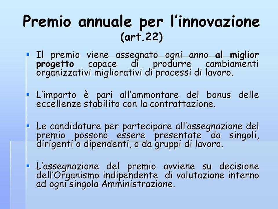 Premio annuale per l'innovazione (art.22)  Il premio viene assegnato ogni anno al miglior progetto capace di produrre cambiamenti organizzativi migli
