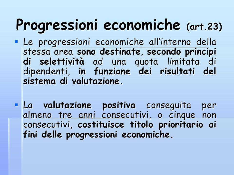 Progressioni economiche (art.23)  Le progressioni economiche all'interno della stessa area sono destinate, secondo principi di selettività ad una quo