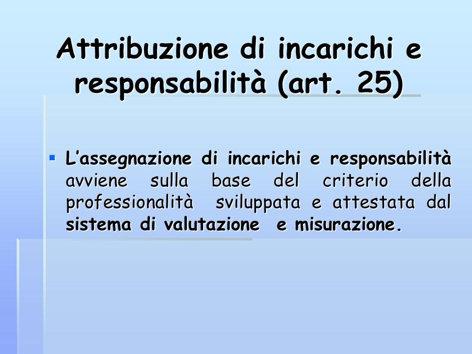 Attribuzione di incarichi e responsabilità (art. 25)  L'assegnazione di incarichi e responsabilità avviene sulla base del criterio della professional