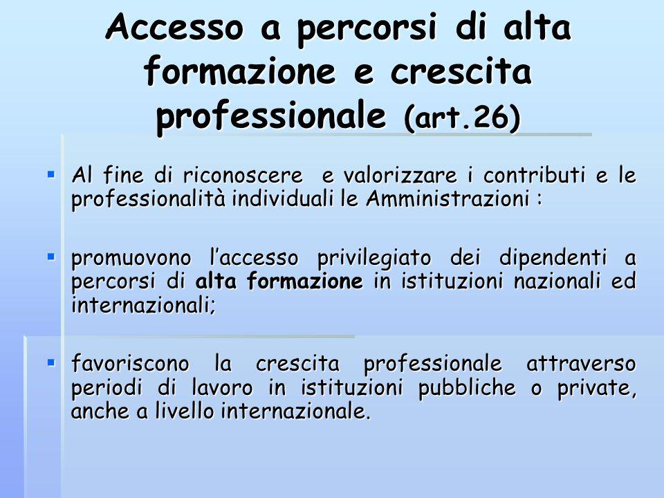 Accesso a percorsi di alta formazione e crescita professionale (art.26)  Al fine di riconoscere e valorizzare i contributi e le professionalità indiv