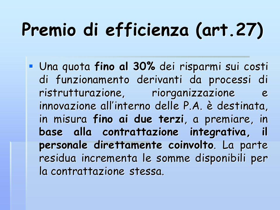 Premio di efficienza (art.27)  Una quota fino al 30% dei risparmi sui costi di funzionamento derivanti da processi di ristrutturazione, riorganizzazi