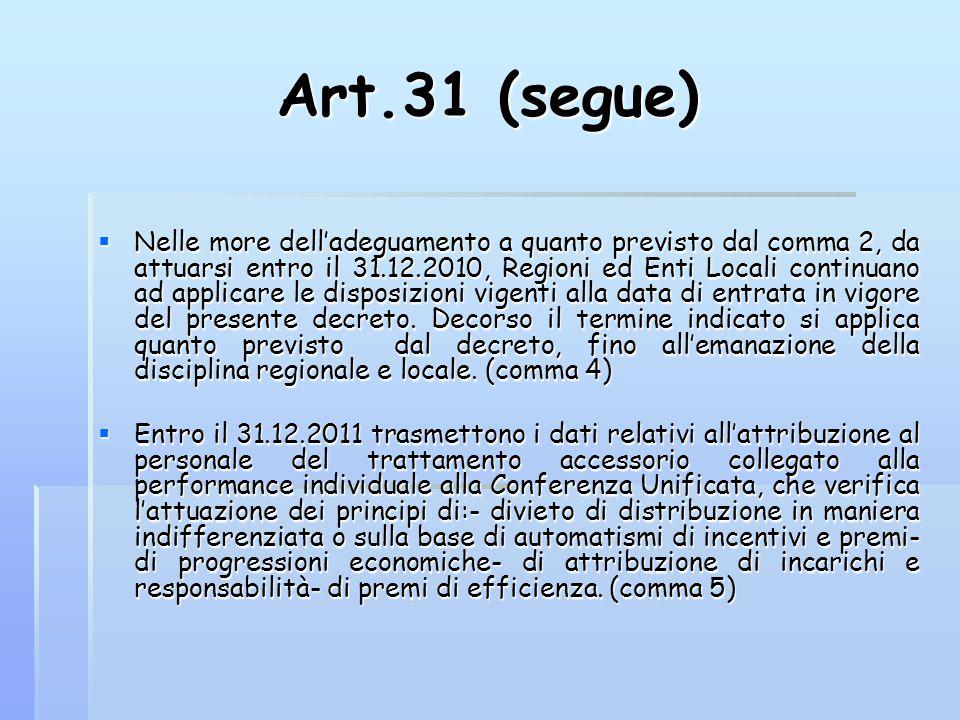 Art.31 (segue)  Nelle more dell'adeguamento a quanto previsto dal comma 2, da attuarsi entro il 31.12.2010, Regioni ed Enti Locali continuano ad appl