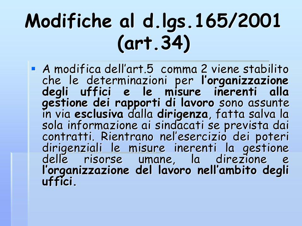 Modifiche al d.lgs.165/2001 (art.34)  A modifica dell'art.5 comma 2 viene stabilito che le determinazioni per l'organizzazione degli uffici e le misu