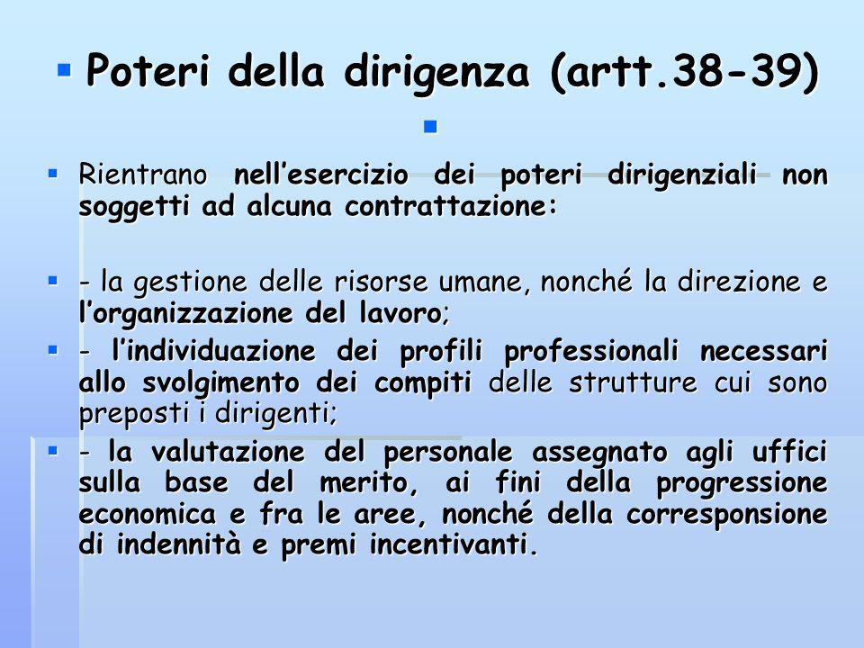  Poteri della dirigenza (artt.38-39)   Rientrano nell'esercizio dei poteri dirigenziali non soggetti ad alcuna contrattazione:  - la gestione dell