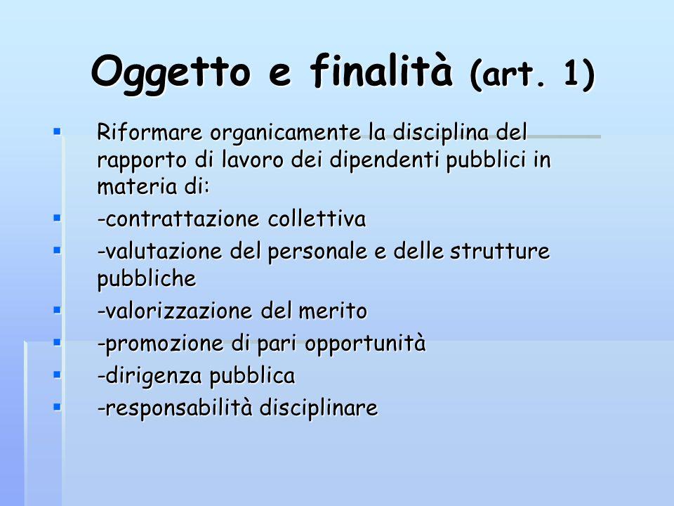 Oggetto e finalità (art. 1)  Riformare organicamente la disciplina del rapporto di lavoro dei dipendenti pubblici in materia di:  -contrattazione co