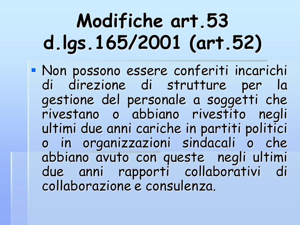 Modifiche art.53 d.lgs.165/2001 (art.52)  Non possono essere conferiti incarichi di direzione di strutture per la gestione del personale a soggetti c