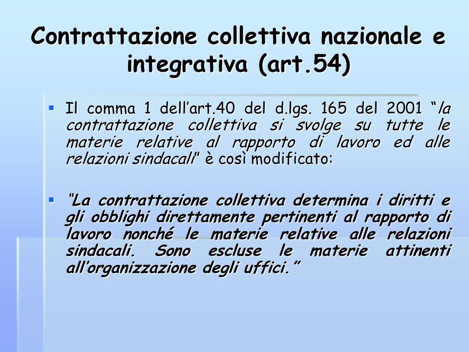 """Contrattazione collettiva nazionale e integrativa (art.54)  Il comma 1 dell'art.40 del d.lgs. 165 del 2001 """"la contrattazione collettiva si svolge su"""