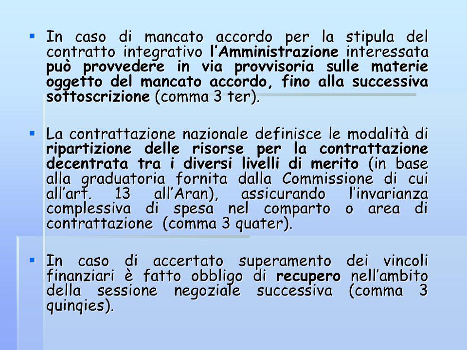  In caso di mancato accordo per la stipula del contratto integrativo l'Amministrazione interessata può provvedere in via provvisoria sulle materie og