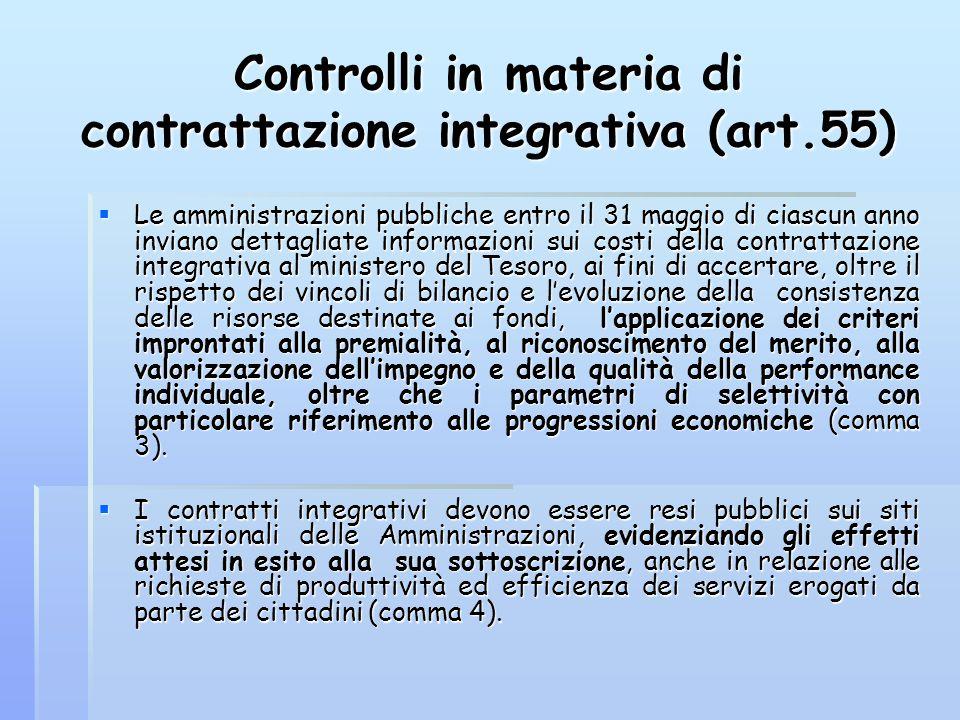 Controlli in materia di contrattazione integrativa (art.55)  Le amministrazioni pubbliche entro il 31 maggio di ciascun anno inviano dettagliate info