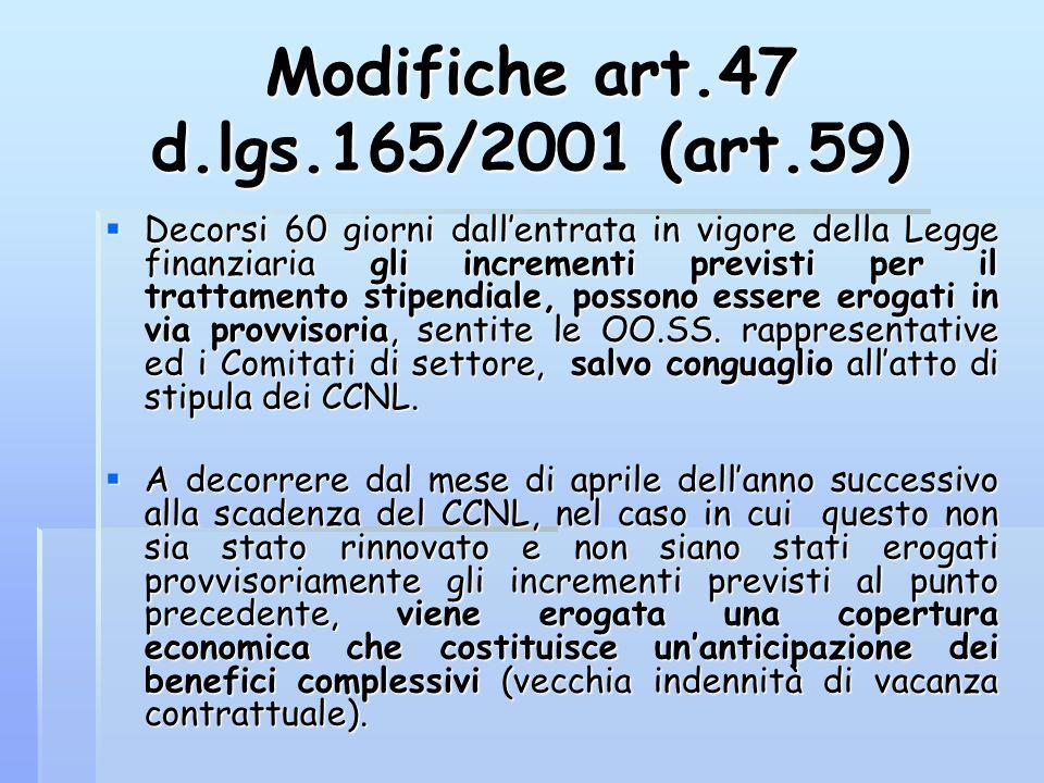 Modifiche art.47 d.lgs.165/2001 (art.59)  Decorsi 60 giorni dall'entrata in vigore della Legge finanziaria gli incrementi previsti per il trattamento