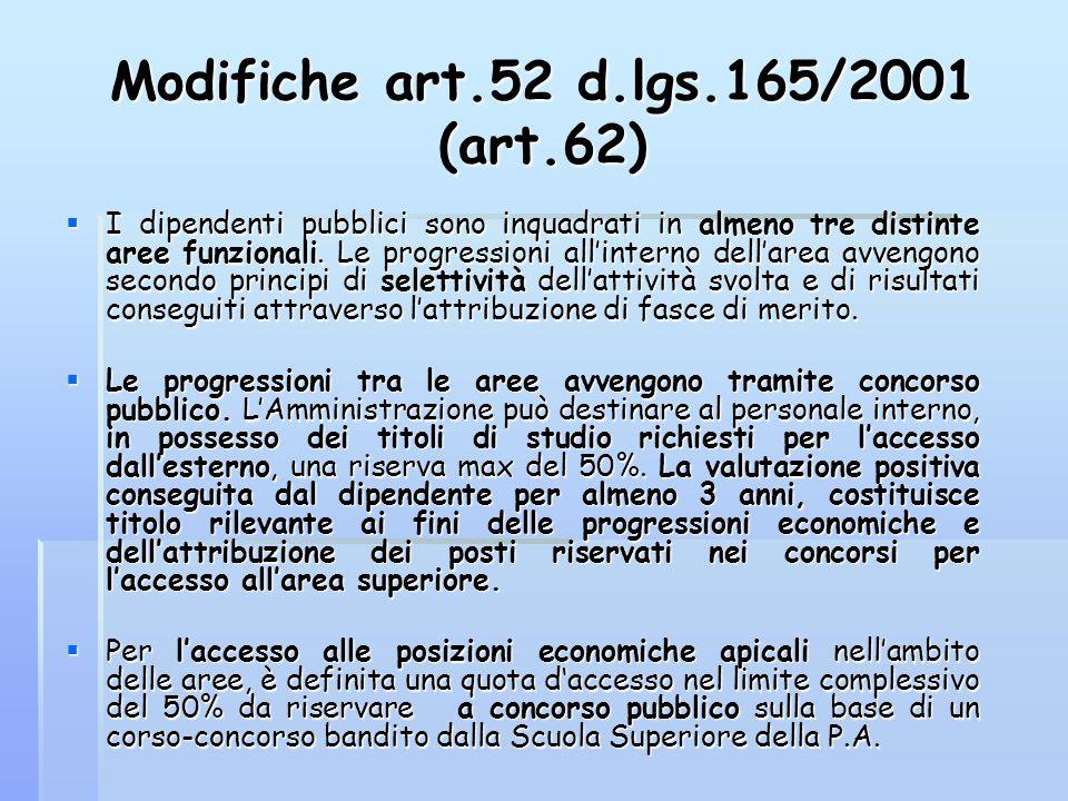 Modifiche art.52 d.lgs.165/2001 (art.62)  I dipendenti pubblici sono inquadrati in almeno tre distinte aree funzionali. Le progressioni all'interno d