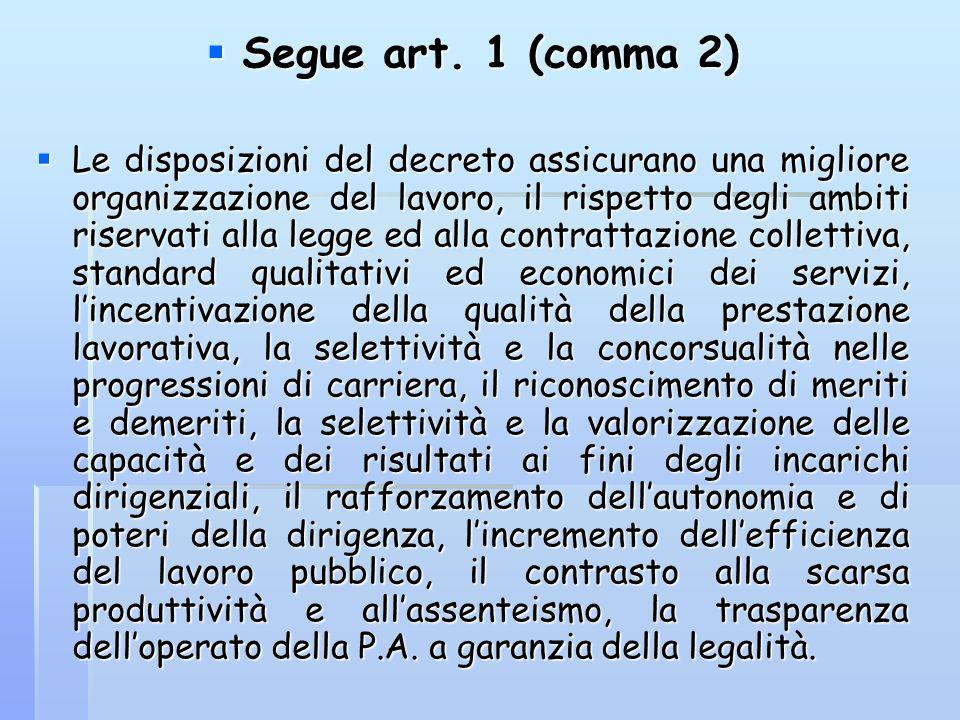  Segue art. 1 (comma 2)  Le disposizioni del decreto assicurano una migliore organizzazione del lavoro, il rispetto degli ambiti riservati alla legg