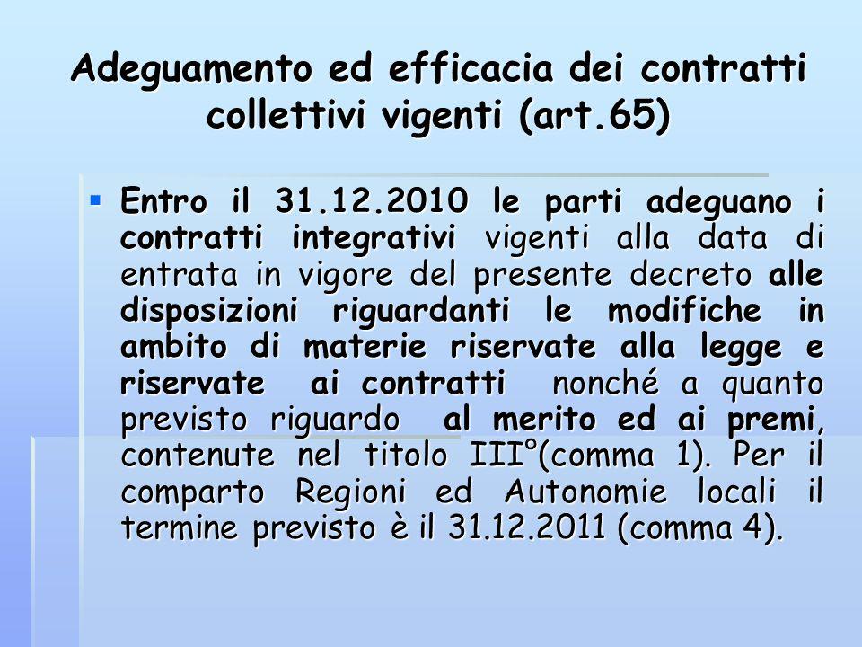Adeguamento ed efficacia dei contratti collettivi vigenti (art.65)  Entro il 31.12.2010 le parti adeguano i contratti integrativi vigenti alla data d
