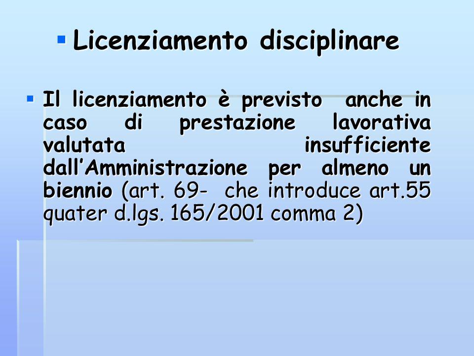  Licenziamento disciplinare  Il licenziamento è previsto anche in caso di prestazione lavorativa valutata insufficiente dall'Amministrazione per alm