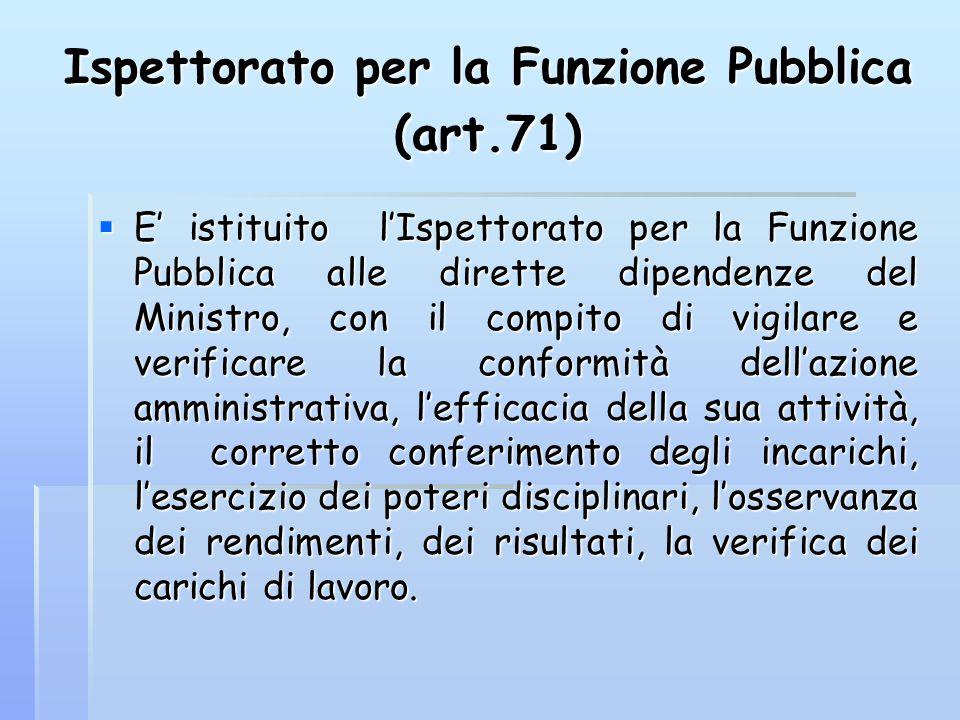 Ispettorato per la Funzione Pubblica (art.71)  E' istituito l'Ispettorato per la Funzione Pubblica alle dirette dipendenze del Ministro, con il compi