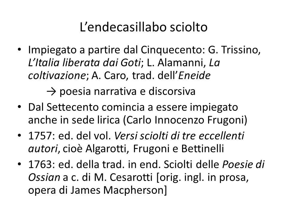 L'endecasillabo sciolto Impiegato a partire dal Cinquecento: G. Trissino, L'Italia liberata dai Goti; L. Alamanni, La coltivazione; A. Caro, trad. del