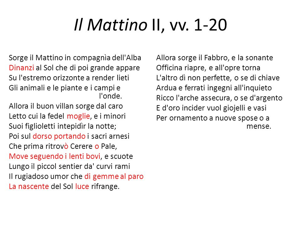 Il Mattino II, vv. 1-20 Sorge il Mattino in compagnìa dell'Alba Dinanzi al Sol che di poi grande appare Su l'estremo orizzonte a render lieti Gli anim