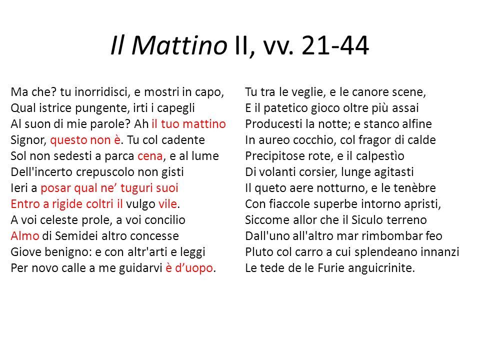 Il Mattino II, vv. 21-44 Ma che? tu inorridisci, e mostri in capo, Qual istrice pungente, irti i capegli Al suon di mie parole? Ah il tuo mattino Sign