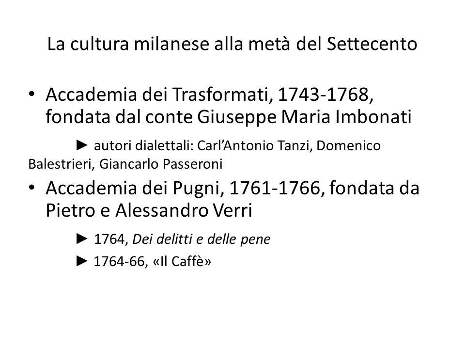 La cultura milanese alla metà del Settecento Accademia dei Trasformati, 1743-1768, fondata dal conte Giuseppe Maria Imbonati ► autori dialettali: Carl
