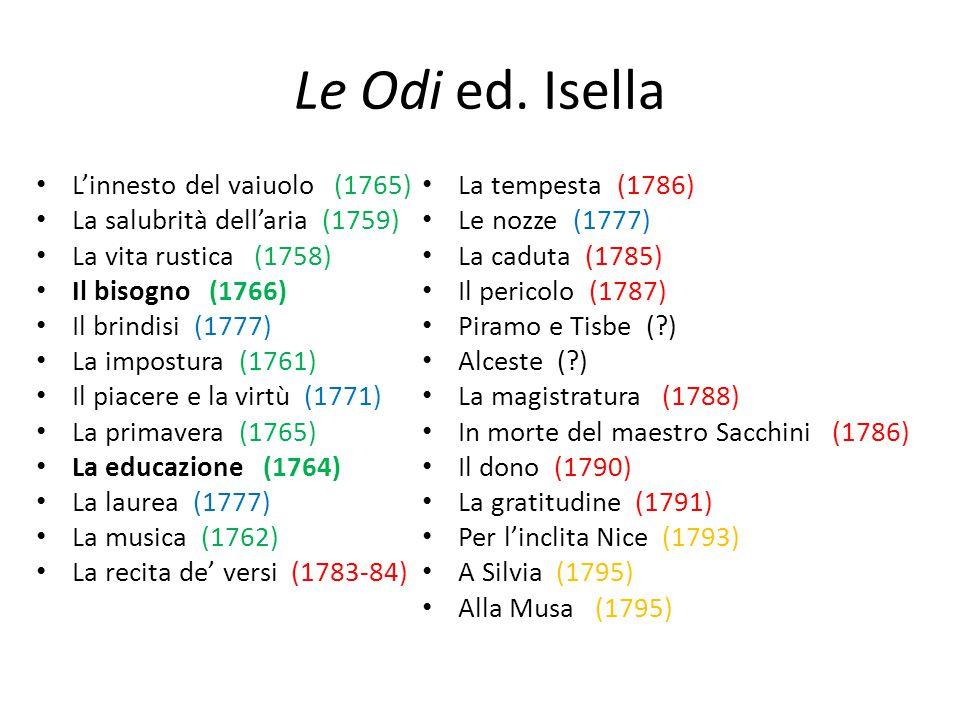 Le Odi ed. Isella L'innesto del vaiuolo (1765) La salubrità dell'aria (1759) La vita rustica (1758) Il bisogno (1766) Il brindisi (1777) La impostura