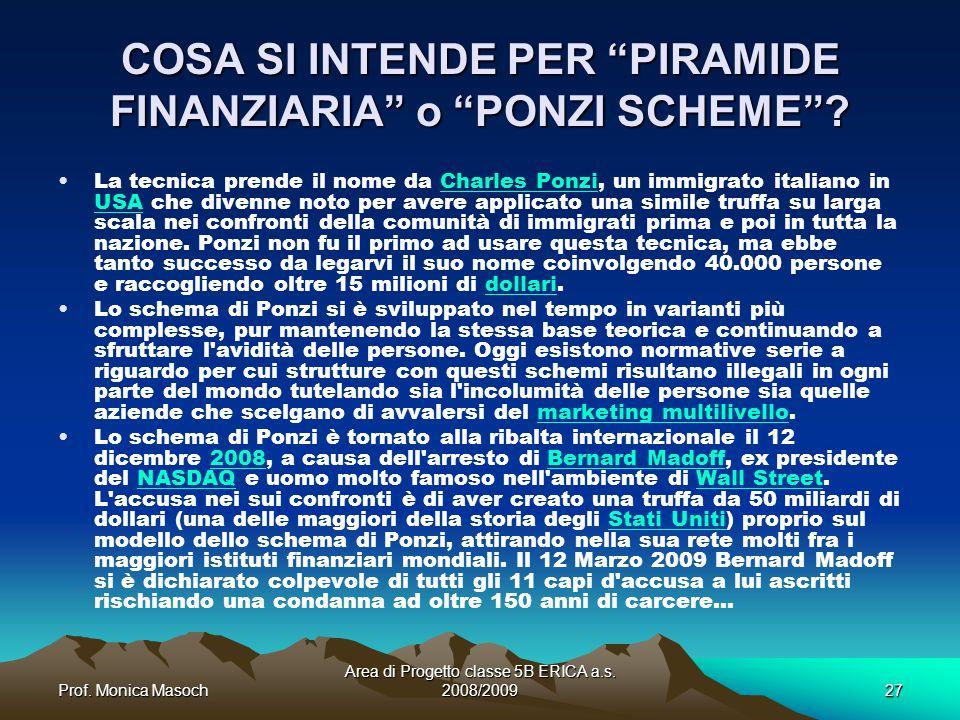 Prof.Monica Masoch Area di Progetto classe 5B ERICA a.s.