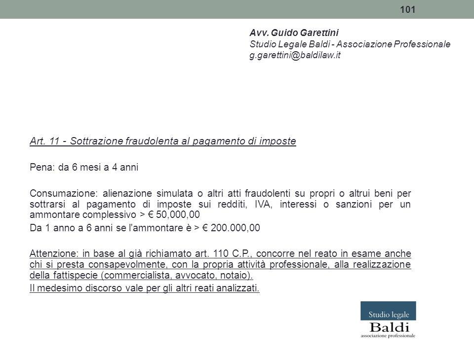 101 Art. 11 - Sottrazione fraudolenta al pagamento di imposte Pena: da 6 mesi a 4 anni Consumazione: alienazione simulata o altri atti fraudolenti su