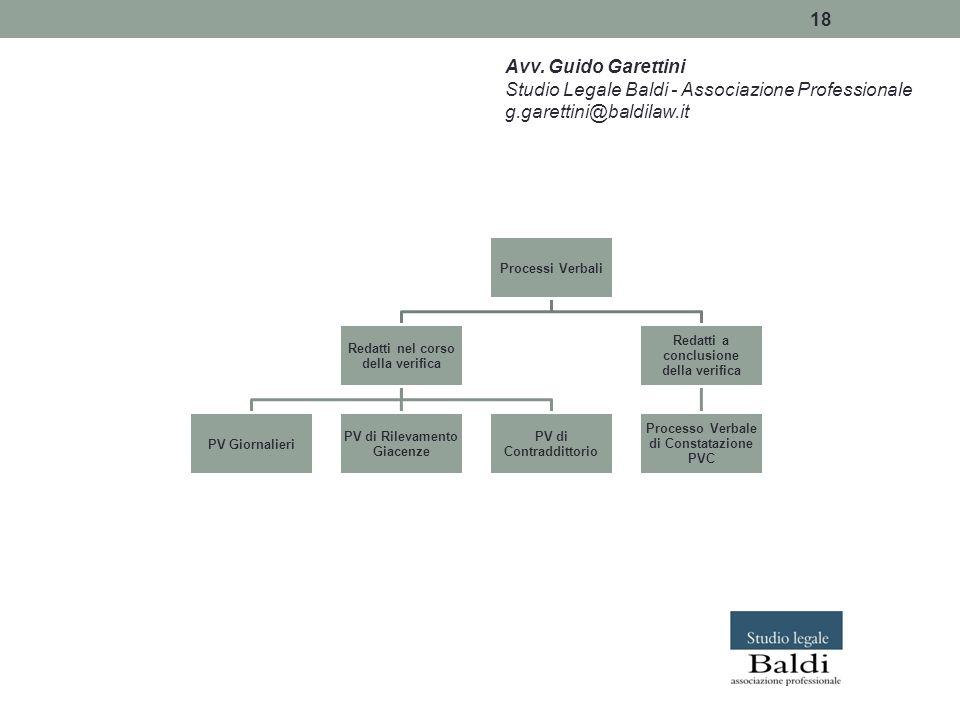 18 Avv. Guido Garettini Studio Legale Baldi - Associazione Professionale g.garettini@baldilaw.it Processi Verbali Redatti nel corso della verifica PV