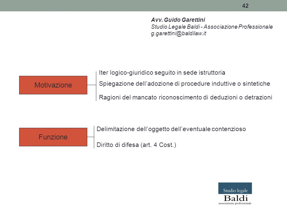 42 Avv. Guido Garettini Studio Legale Baldi - Associazione Professionale g.garettini@baldilaw.it Motivazione Funzione Iter logico-giuridico seguito in