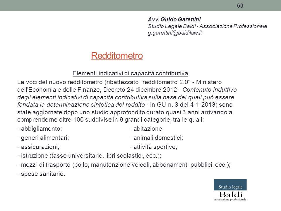 60 Redditometro Elementi indicativi di capacità contributiva Le voci del nuovo redditometro (ribattezzato
