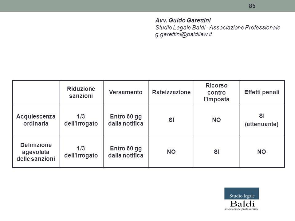 85 Avv. Guido Garettini Studio Legale Baldi - Associazione Professionale g.garettini@baldilaw.it Riduzione sanzioni VersamentoRateizzazione Ricorso co