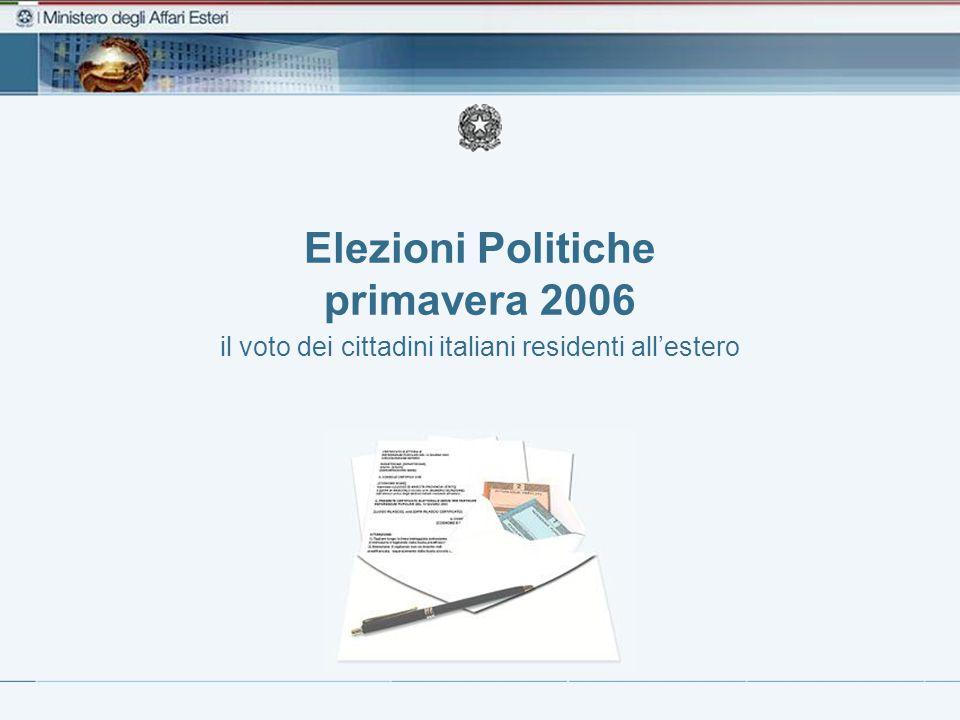 Elezioni Politiche primavera 2006 il voto dei cittadini italiani residenti all'estero