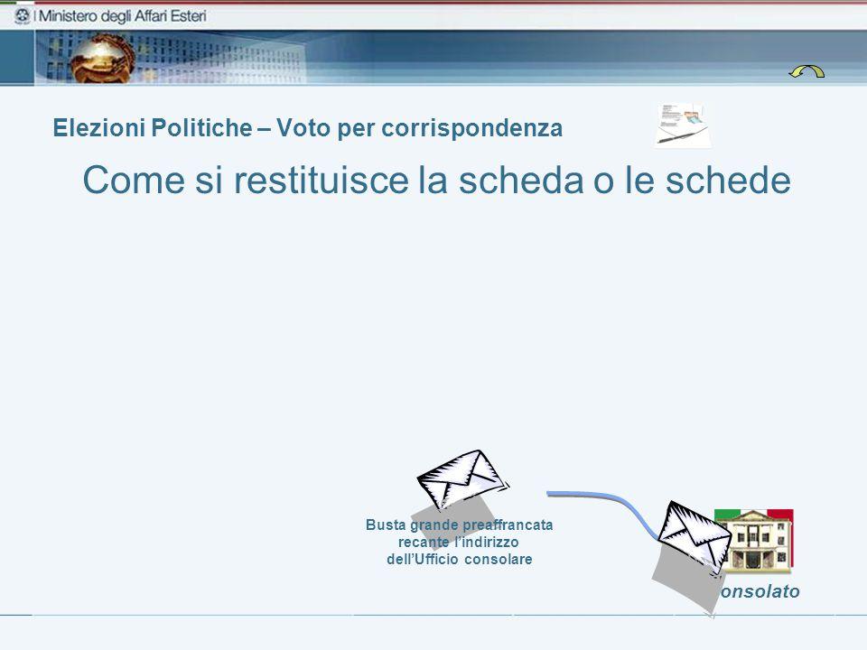 Elezioni Politiche – Voto per corrispondenza Consolato Busta grande preaffrancata recante l'indirizzo dell'Ufficio consolare Come si restituisce la scheda o le schede