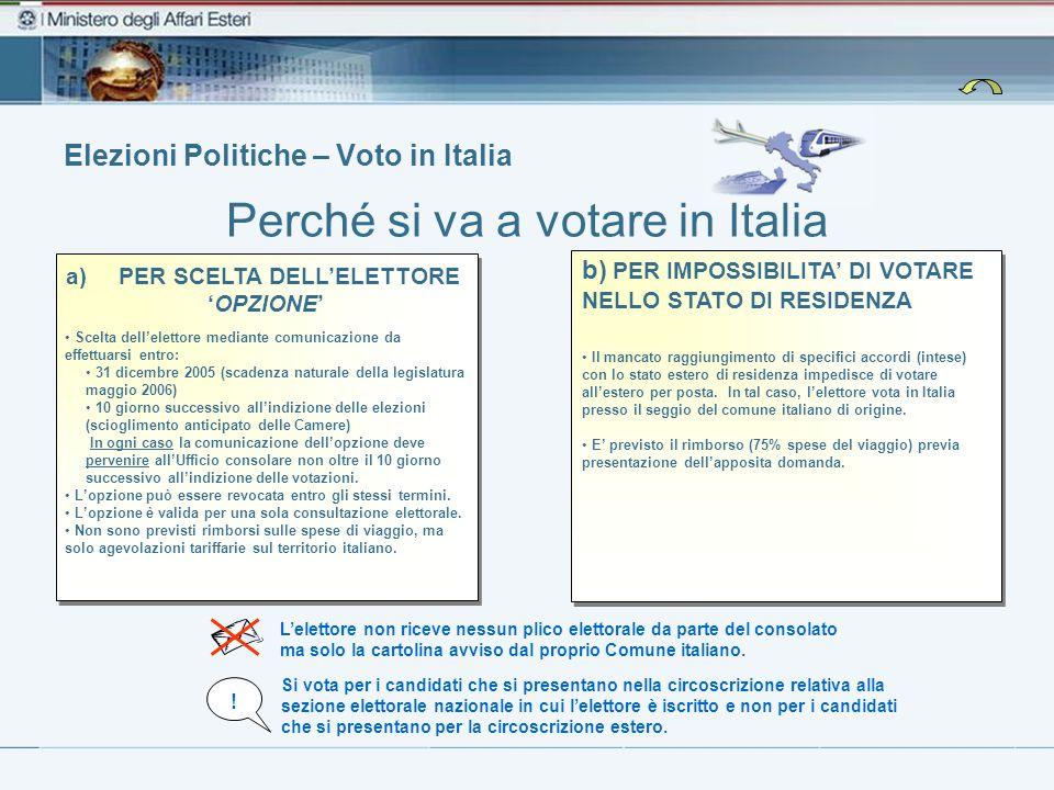 Elezioni Politiche – Voto in Italia Perché si va a votare in Italia L'elettore non riceve nessun plico elettorale da parte del consolato ma solo la cartolina avviso dal proprio Comune italiano.