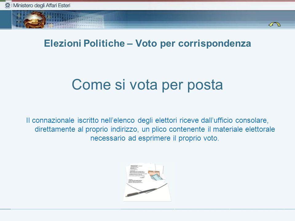 Elezioni Politiche – Voto per corrispondenza Come si vota per posta Il connazionale iscritto nell'elenco degli elettori riceve dall'ufficio consolare,