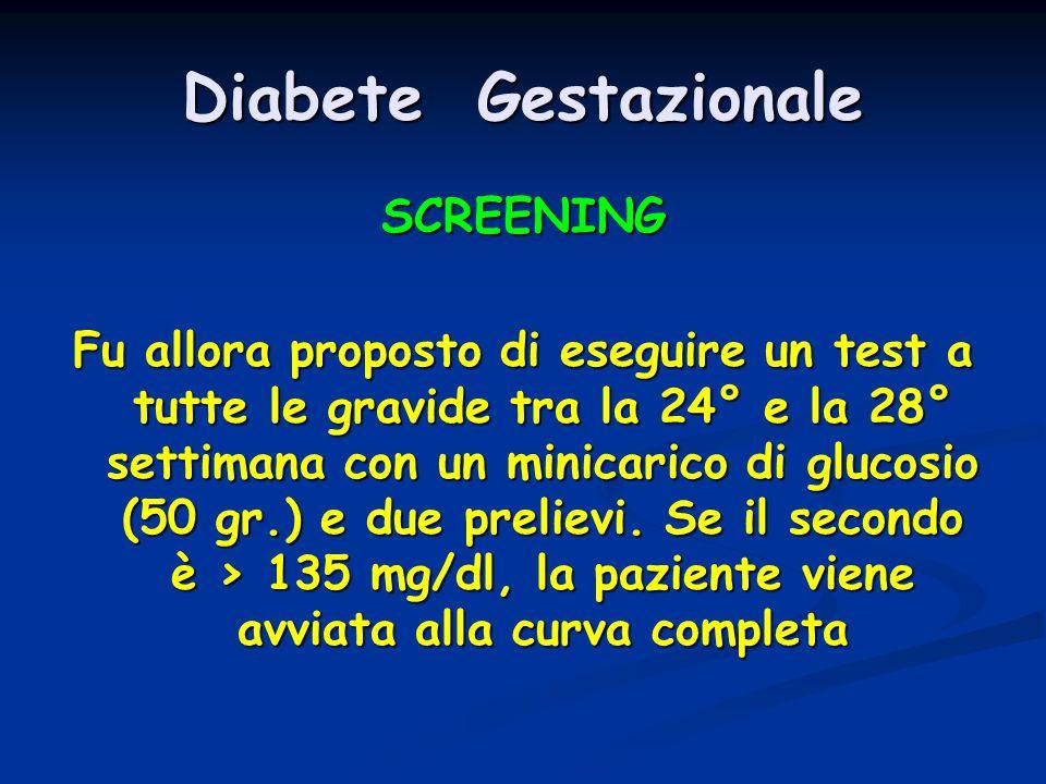 Diabete Gestazionale SCREENING Fu allora proposto di eseguire un test a tutte le gravide tra la 24° e la 28° settimana con un minicarico di glucosio (