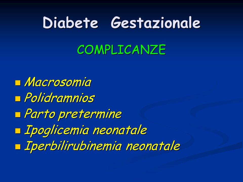 Diabete Gestazionale COMPLICANZE Macrosomia Macrosomia Polidramnios Polidramnios Parto pretermine Parto pretermine Ipoglicemia neonatale Ipoglicemia n