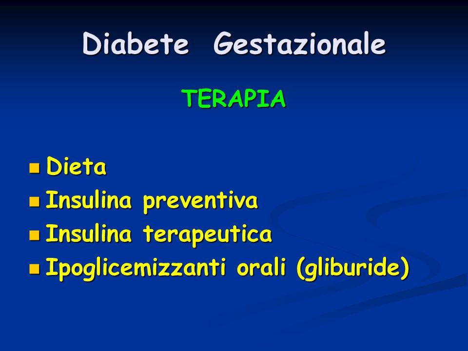 Diabete Gestazionale TERAPIA Dieta Dieta Insulina preventiva Insulina preventiva Insulina terapeutica Insulina terapeutica Ipoglicemizzanti orali (gli