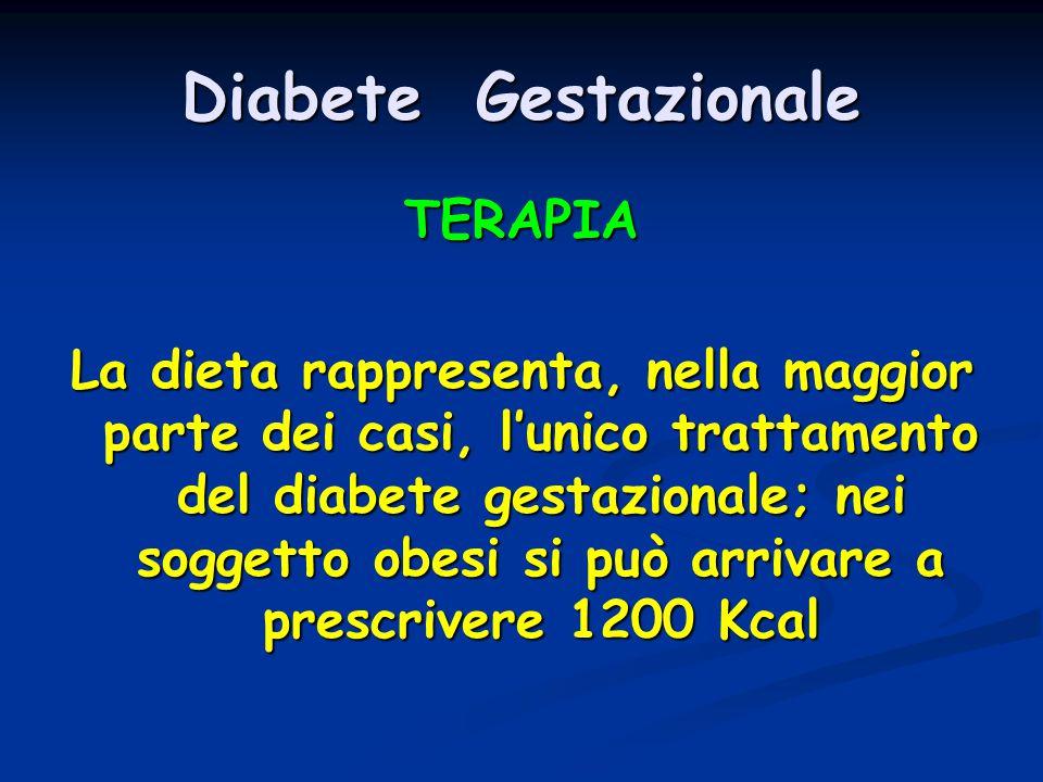 Diabete Gestazionale TERAPIA La dieta rappresenta, nella maggior parte dei casi, l'unico trattamento del diabete gestazionale; nei soggetto obesi si p