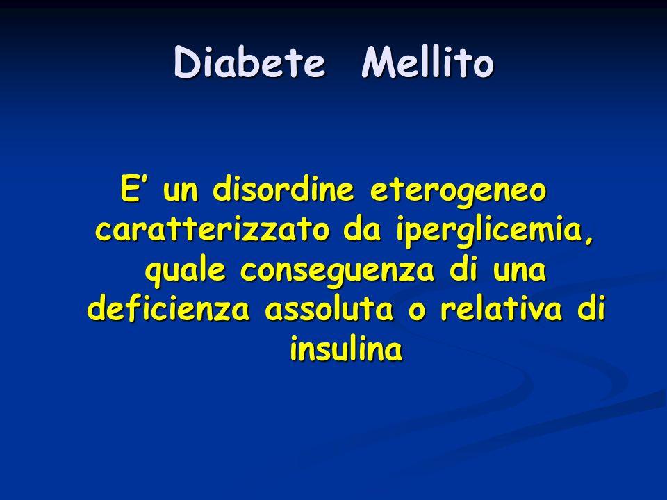 Diabete Mellito E' un disordine eterogeneo caratterizzato da iperglicemia, quale conseguenza di una deficienza assoluta o relativa di insulina