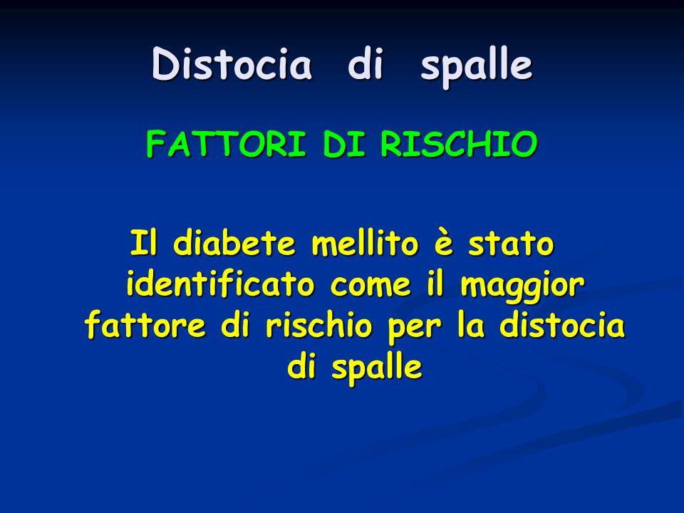 Distocia di spalle FATTORI DI RISCHIO Il diabete mellito è stato identificato come il maggior fattore di rischio per la distocia di spalle