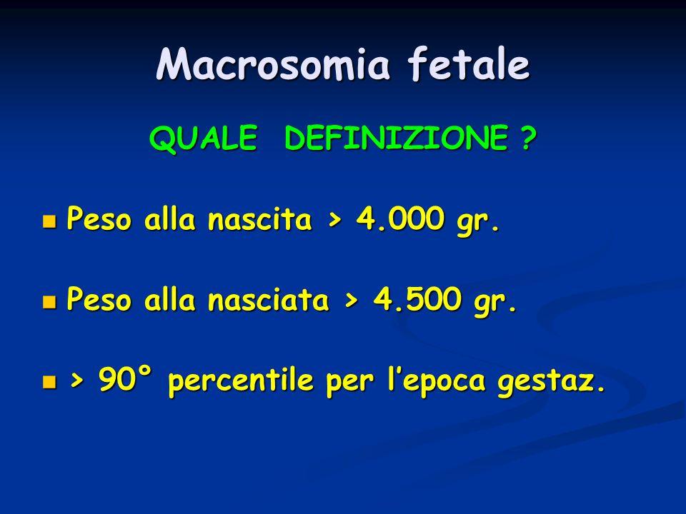 Macrosomia fetale QUALE DEFINIZIONE ? Peso alla nascita > 4.000 gr. Peso alla nascita > 4.000 gr. Peso alla nasciata > 4.500 gr. Peso alla nasciata >