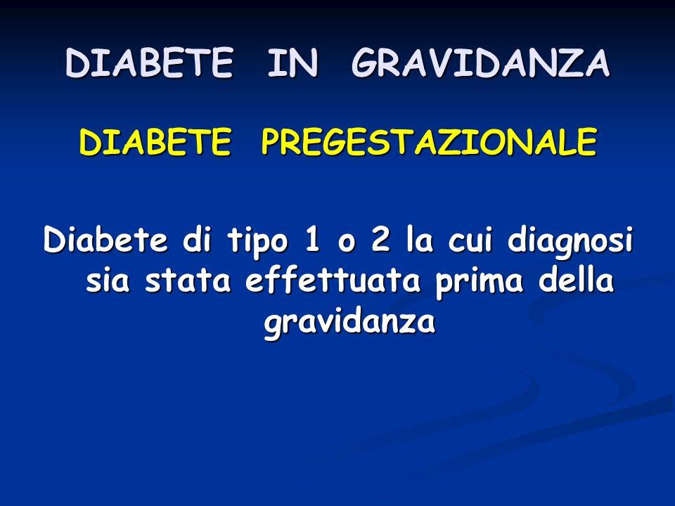 DIABETE IN GRAVIDANZA DIABETE PREGESTAZIONALE Diabete di tipo 1 o 2 la cui diagnosi sia stata effettuata prima della gravidanza