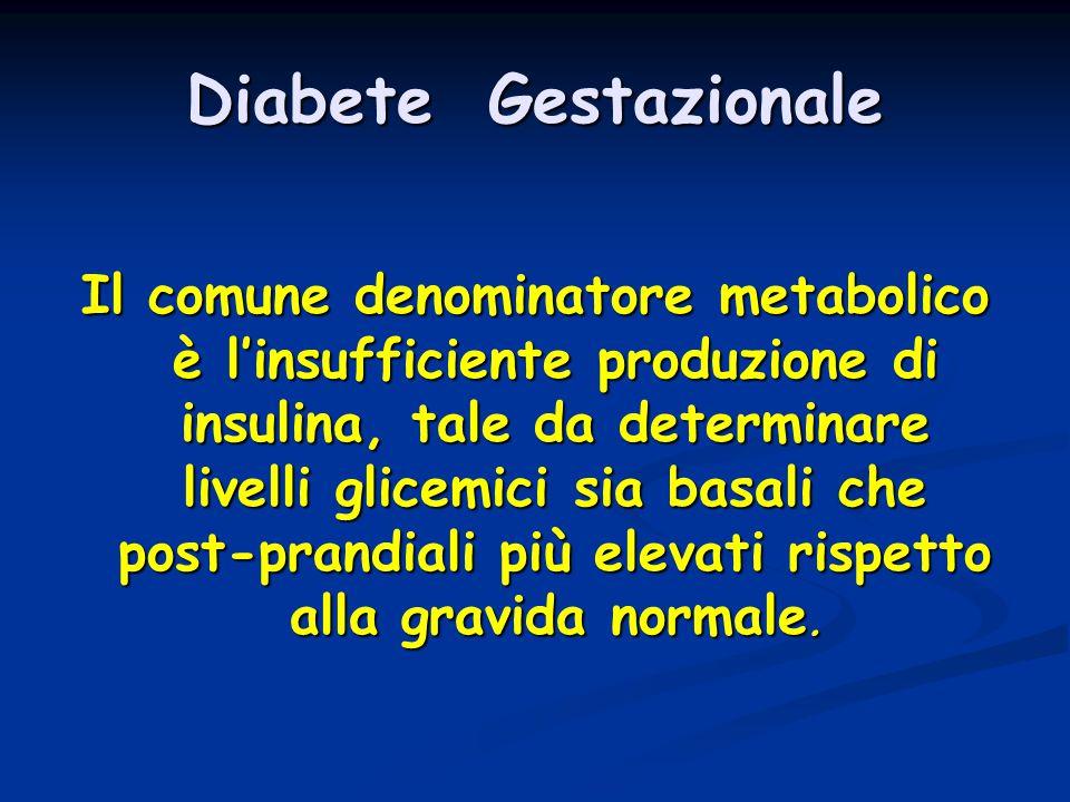 Diabete Gestazionale Il comune denominatore metabolico è l'insufficiente produzione di insulina, tale da determinare livelli glicemici sia basali che